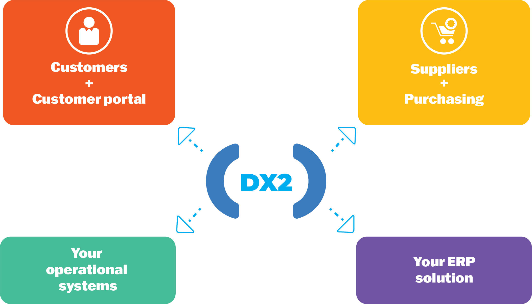 DX2 ERP Solution Illustration blue text