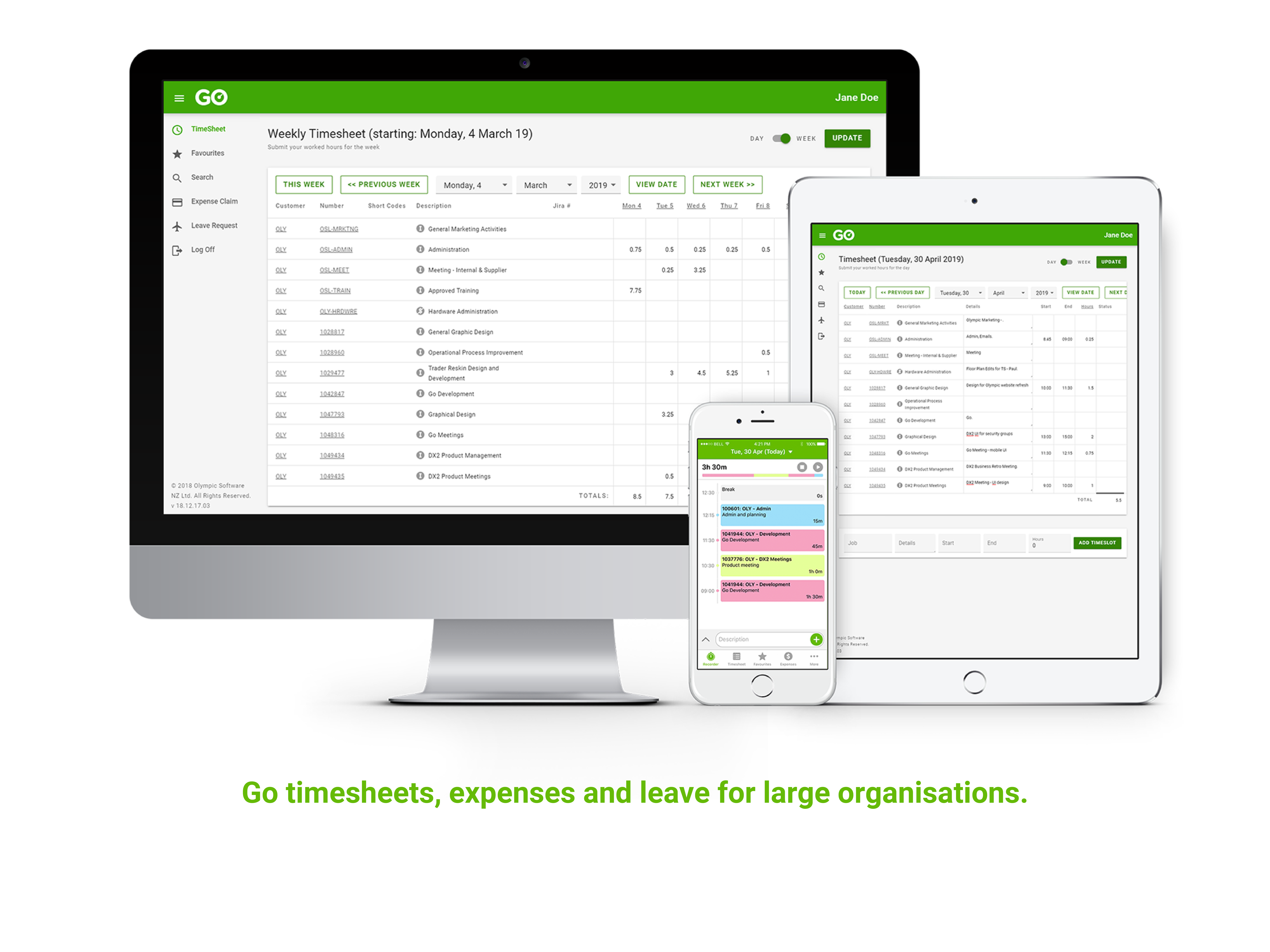 Go Timesheets, Expenses and Leave for large organisations